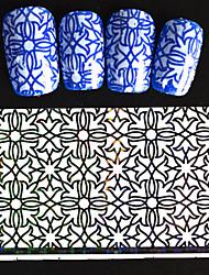 5pcs 20*4cm 2016 New Japanese White  Series Nail Art Intertwining Flower and Star Design  Foils DIY Nail Sticker STZ Jw6