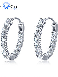 Fashion 925 Sterling Silver Zirconia Party Accessories Hoop Earrings For Women