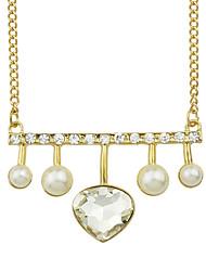 Elegant Imitation Crystal Heart Pendant Stone Necklace
