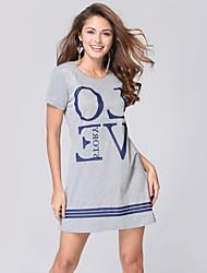 Women's Fashion Casual / Work / Beach / Holiday Short Sleeve Letters Print Long T-shirt / Mini Dress