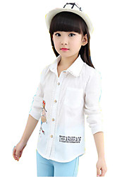 Girl's Shirt,Cotton Spring / Fall Pink / White / Yellow