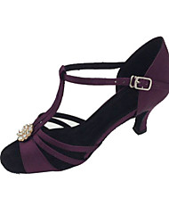 Non Customizable Women's Dance Shoes Latin / Salsa Satin Stiletto Heel Purple
