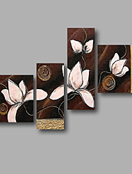 "Ready to Hang Stretched Hand-painted Oil Painting 56""x40"" Canvas Wall Art Modern White Magnolia Dark Brown"