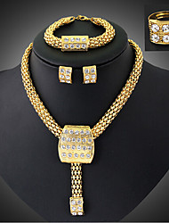 May Polly  Fashion banquet diamond necklace earrings bracelet ring set