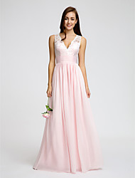 Lanting Bride® Floor-length Chiffon Bridesmaid Dress - A-line V-neck with Lace / Sash / Ribbon / Ruching