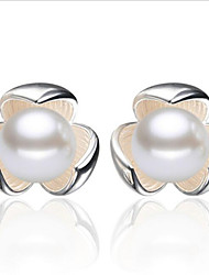 Stud Earrings Pearl Silver Plated Jewelry 2pcs