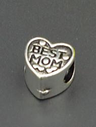 perles bricolage bijoux accessoires collier bracelet boucles d'oreilles en argent meilleure maman vert perles en forme de coeur trous