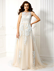 A-Line Jewel Neck Court Train Tulle Prom Formal Evening Dress with Appliques by TS Couture®