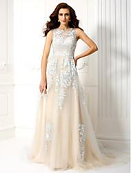 Linha A Decorado com Bijuteria Cauda Corte Tule Baile de Fim de Ano Evento Formal Vestido com Apliques de TS Couture®