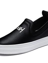 Черный / Белый-Женская обувь-Для офиса / Для праздника / На каждый день-Дерматин-На плоской подошве-Удобная обувь-Кроссовки