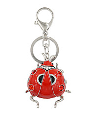 Fashion Cute Rhinestone Set Red Enamel Hollow Metal Ladybug Keyring/ Handbag Accessory