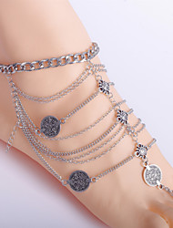 2Pcs Boho Style Anklet Chain Barefoot Sandals Bridemaids Wedding Jewelry Toe Ring Anklets (Silver plated)