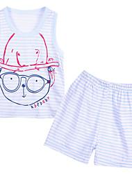Для мальчиков Тонкая ткань Слабоэластичная Для мальчиков Набор одежды,Без рукавов,Хлопок,Лето