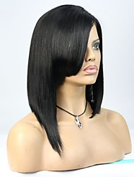 Joywigs In Stock 12inch Bob Straight Natural Color Brazilian Virgin Hair Lace Front Wig with Bang
