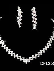 Silver Rhinestone Crystal Jewelry Set(Necklace+Earrings)