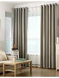Deux Panneaux Rustique / Européen Rayure Noir Salle de séjour Polyester Rideaux occultants rideaux