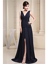 Floor-length Chiffon Bridesmaid Dress - A-line V-neck with Side Draping / Split Front