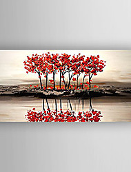 Oil Painting Landscape Red Trees by Knife Hand Painted Canvas with Stretched Framed Ready to Hang