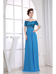 Formal Evening Dress Sheath / Column V-neck Floor-length Chiffon / Charmeuse with Appliques / Beading / Side Draping