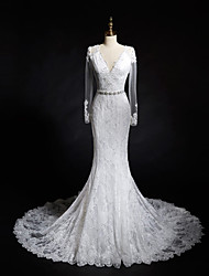 Trumpet / Mermaid Wedding Dress Chapel Train V-neck Lace with Appliques / Lace / Pearl / Sash / Ribbon