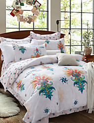 Beautiful flowers 100% Cotton Bedclothes 4pcs Bedding Set Queen Size Duvet Cover Set