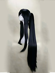 Capless Black  Cosplay Wigs  with Ponytail 120cm Super Long Straight  Synthetic Hair Wig Suit for  Party