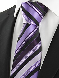 KissTies Men's Striped Purple Black Microfiber Tie Necktie For Wedding Party Holiday With Gift Box