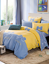 Yellow and blue 100% Cotton Bedclothes 4pcs Bedding Set Queen Size Duvet Cover Set
