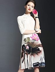 Women's Vintage Floral Sheath Dress,Stand Knee-length Polyester