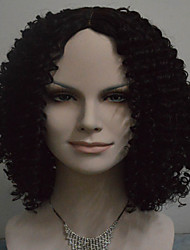 Middle Length Curly Hair European Weave Black Color Synthetic Wig