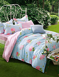 Kam Flowering, Full Cotton Reactive Printing Pastoral Flowers Bedding Set 4PC, FULL Size