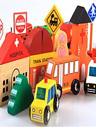 cidade magnética tráfego cena tráfego bloco de construção sinal