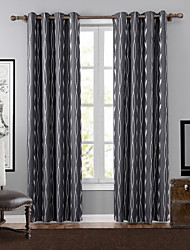 One Panel Neoclassical Stripe Neutrals Bedroom Polyester Blackout Curtains Drapes