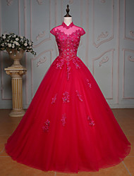 Formal Evening Dress Ball Gown High Neck Floor-length Lace / Tulle with Beading / Crystal Detailing / Lace / Sequins