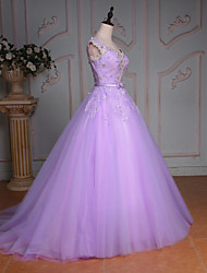 Princess Wedding Dress Court Train V-neck Lace / Tulle with Beading / Bow / Crystal / Lace