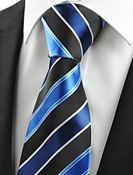 Classic Striped Blue Black JACQUARD Men's Tie Necktie Formal Business Gift #0001