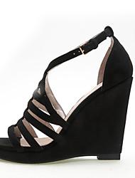 Women's Shoes Velvet Wedge Heel Wedges / Heels / Platform Sandals Office & Career / Dress / Gray / Almond