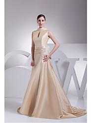 Formal Evening Dress A-line High Neck Sweep/Brush Train Taffeta