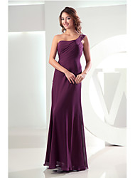 Floor-length Chiffon Bridesmaid Dress Sheath / Column One Shoulder with Side Draping