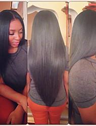12-28inch 100% parrucca anteriore del merletto di colore naturale non trattato vergine peruviano di seta i capelli lisci