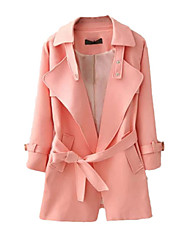 Women's Solid Pink / White / Black Coat,Simple Long Sleeve Cotton