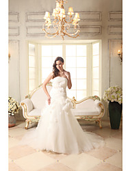 Trumpet / Mermaid Wedding Dress Court Train Strapless Organza / Satin with Flower / Ruche