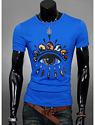 Herren T-shirt-Druck Freizeit Polyester Kurz-Blau / Orange / Rot / Weiß