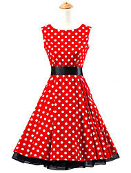 50s Era Vintage Style Sleeveless Rockabilly Dress Cosplay Costume Red White Polka Dot (with Petticoat)