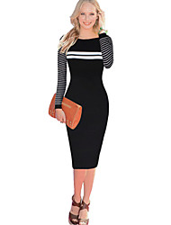 Women's Round Collar Stripe Color Block Patchwork Bodycon Dress