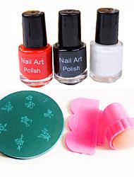 nail art stamper / schraper&10st willekeurige afbeelding stempel stempelen template&3pcs nail art polish (10ml, rood / zwart /