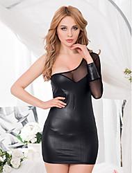 High Quality Long Sleeve Leather Sexy Mini Dress Sheath Solid Summer Mini Dress 2015 New Fashion Backless Mini Dress