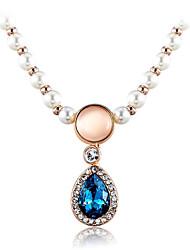 Women's Fashion Noble Teardrop-Shaped Sapphire Agate Pearl Pendant Necklace