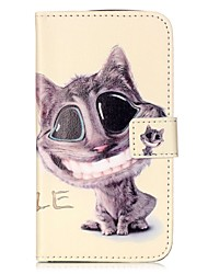 For LGK10 K7 K8 V10 LS775 Case Cover Smiling Cat Pattern Painting Card Stent PU Leather Phone Case