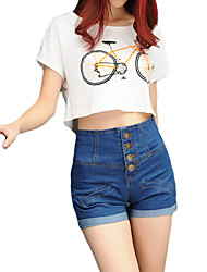 High Quality S-4XL Plus Size Women's Solid Blue Jeans / Shorts Pants Street chic Active High Rise Shorts